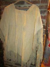 woman's leather fringe poncho XL