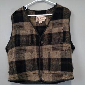 Woolrich Tartan Plaid Wool Blend Button Up Vest M women's Worm Hiking Outdoor