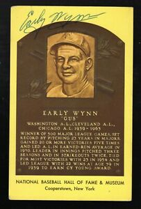 Early Wynn Autographed Baseball Hall of Fame Postcard Chicago White Sox HOF