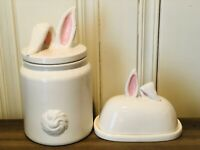 Whimsy Home By Magenta Rae Dunn Ceramic Easter Bunny Canister, Butter Dish