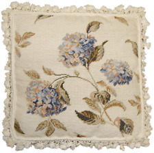 "20""x20"" Handmade Wool Needlepoint Petit Point Blue Hydrangea Pillow with Tassels"