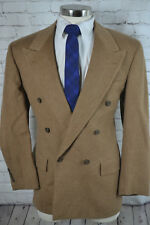 Mens Brown HERRINGBONE Double Breasted CAMEL HAIR Sport Coat Blazer Jacket 43R