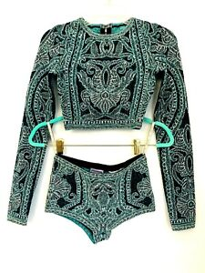 $2700 Herve Leger Bandage Unlined Knit Fabric Zip Set of Two Crop Top Shorts XS