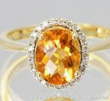 Citrine Yellow Gold Diamond Fine Rings