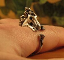 Horse Ring - Adjustable Wrap Stallion Ring - Silver Bronze Animal Jewelry Gift