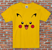 Pikachu Face Pokemon Inspired T Shirt S - 2XL