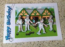 "Handmade Birthday card 3D decoupage humourous male bowls player bowler  7"" x 5"""