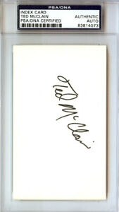 Ted McClain Authentic Autographed Signed 3x5 Index Card PSA/DNA #83814073