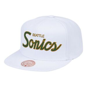 Seattle Supersonics Mitchell & Ness CLASSIC TEAM SCRIPT White Snapback NBA Hat