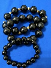 Vintage set of 3 graduating black beaded bracelets, glass beads on smallest one