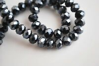 72pcs 8mm Rondelle Faceted Crystal Loose Glass Beads Jewelry Making Shiny Black