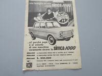 Publicidad En Página Original Años 50/60 Advertising Vintage Simca 1000 Auto