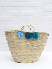 Large Blue Teal Ombre Pom Pom French Market Beach Basket, Shopper Bag Moroccan