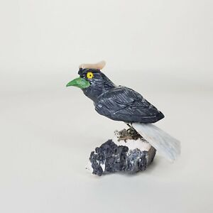 """Peruvian Stone Song Bird Handcrafted Carved Bird Black and Yellow 3"""""""