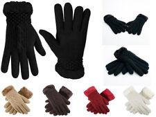 Fashion Women's Winter Knitted Warm Gloves Faux Fur Trim Luxury Style One Size