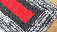 Hand Made Black/Red/Grey Multicoloured Fleece Textile Rug or Doormat