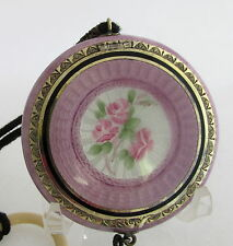 Antique F&B Stering&Guilloche Purple Enamel Compact Black Tassel & Ring