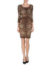 NEW DOLCE GABBANA Animal Leopard Print Crepe de Chine Bodycon Silk Dress 42 US 6