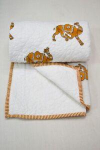 Reversible Camel Small Quilt Brown & White Blanket Bohemian Bed Runner Gudari