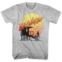 Baywatch Lifeguard Tower Silhouette Sunset Men's T Shirt Vintage Plastisol Gray