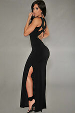 Abito lungo aperto spacco nudo aderente Nude Cut-Out Back Evening skinn Dress M