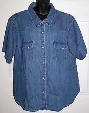 QVC Denim & Co. 2x Denim Button Front Jean Shirt Short Sleeves Pearlized Snaps