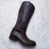 FRYE Melissa Button 2 Cognac Leather Pull On Tall Boots Women's 10B