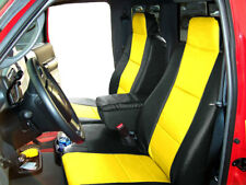 FORD RANGER 2010-2011 BLACK/YELLOW S.LEATHER CUSTOM FRONT SEAT & CONSOLE COVER