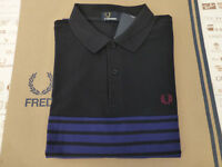 FRED PERRY Polo Shirt M9556 Striped Panel Pique Trim Navy Size M Top BNWT RRP£65
