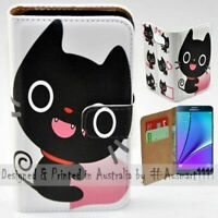 For Samsung Galaxy Note Series - Cute Black Cat Print Mobile Phone Case Cover