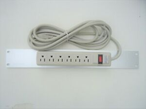 """6-Outlet 15-Amp Surge Power Strip 12 ft Cord On a 19"""" Rack Mount Aluminum Panel"""