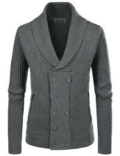 (NKNDJ7) TheLees Wool Blend Shawl Collar 5 Button Knitted Cardigan Sweaters