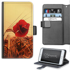 Red Poppy Flower Phone Case, PU Leather Flip Case, Cover For Samsung, Apple