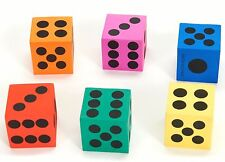 12 BRIGHT COLORFUL FOAM PLAYING DICE FUN TEACHERS KIDS MATH GAMES 1 1/2""