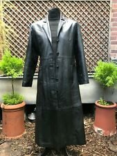 Quality very very long black supple leather ladies coat size 12
