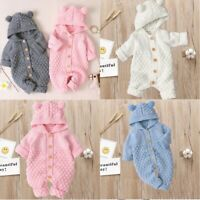 Newborn Baby Jumpsuit Romper Boy Girl Long Sleeve Knitting Hoodie Clothes Outfit