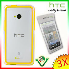 2X Pellicola originale HTC+BUMPER giallo trasparente per One M7 custodia cover