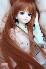 BJD Doll 1/4 7-8 Wig Long Srtaight Cape Hair Straight Bangs  for Girl Brown