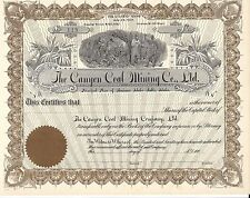 THE CANYON COAL MINING CO. LTD........EARLY 1900'S UNISSUED STOCK CERTIFICATE