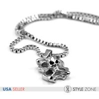 Men/'s Gothic Stainless Steel Casting Dragon Head Pendant Round Box Necklace P30