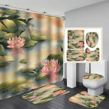 Pond Watercolor Lotus Bath Mat Toilet Cover Rugs Shower Curtain Bathroom Decor