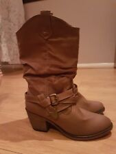 WOMENS ROCKET DOG SIDESTEP RIDER COWBOY WESTERN TAN BOOTS SIZE 6 NEW FROM SCHUH