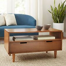 Mid Century Modern Coffee Table Family Living Room Furniture Pecan Wood