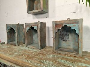 Vintage Reclaimed Hand Made Indian Wooden Temple Shelf Wall Display Shrine Box