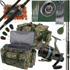 Deluxe Complete Camo Carp Fishing Rod & Reel Combo Set + Tackle Tools & Carryall