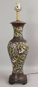 Large Antique Chinese Champleve Cloisonne Enamel Bronze Vase Table Lamp NR