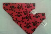 Slide on dog bandanas size S red skull &crossbone. Polycotton handmade