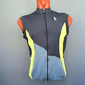 Etxeondo Gray Yellow Cycling Vest With Pockets Sleeveless Jersey Size L