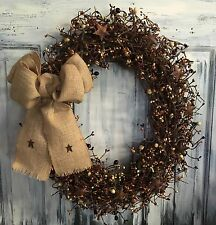 """18"""" Primitive Country Oval Grapevine Wreath Or Centerpiece W/pip Berries & Stars"""
