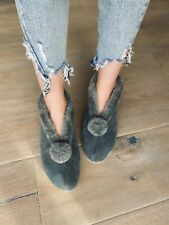 Suede Slipper Boots in Cadet Grey